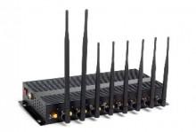 16W Desktop 8 Antennas 3G 4G WiFi Bluetooth Signal Jammer with Portable Aluminum Box