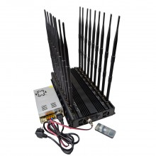 18 Bands High Power Mobile Phone WiFi Lojack VHF UHF GPS All-in-one Remote Control Signal Jammer with Adjustable Button